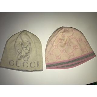 グッチ(Gucci)のGUCCI ベビー ニットキャップ 帽子 薄手 GG柄 両方Mです グッチ(帽子)