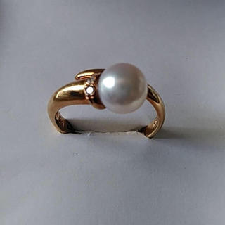 スタージュエリー(STAR JEWELRY)のスタージュエリー K18 アコヤ真珠 ダイヤモンド リング 10号(リング(指輪))