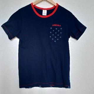 アディダス(adidas)のAdidas アディダス 半袖Tシャツ 紺色 水玉 ドット(Tシャツ/カットソー(半袖/袖なし))
