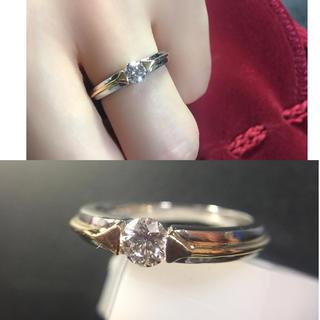 ❤️送料込☆新品同様高品質一粒0.3ctダイヤモンドpt900k18コンビリング(リング(指輪))