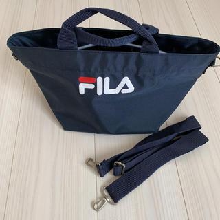 フィラ(FILA)のFILA ネイビー ファスナー付き ナイロン ハンドバッグ(ハンドバッグ)