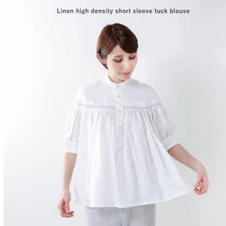 サイ(Scye)のscye サイ リネン タックブラウス 半袖 36 白 ホワイト(シャツ/ブラウス(半袖/袖なし))