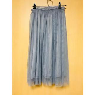 ジーユー(GU)のネイビーグレースカート(ひざ丈スカート)