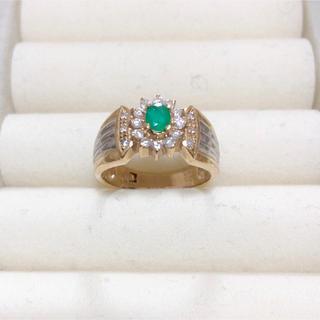 指輪 K18 エメラルド0.2ct ダイヤ0.25ct(リング(指輪))