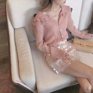 ディオール(Dior)の【Dior】◆ピンクの開襟シャツ+スパンコールのショートスカート(ミニスカート)