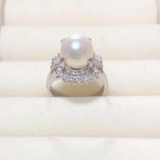 指輪 真珠1.08ct ダイヤ0.40ct プラチナ900(リング(指輪))