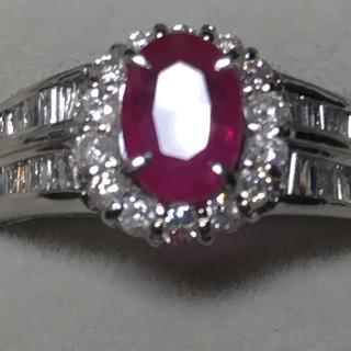 天然ルビー 天然ダイヤモンド 指輪 プラチナリング(リング(指輪))