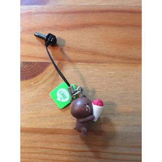 LINE クマ ブラウン 携帯ストラップ(キャラクターグッズ)