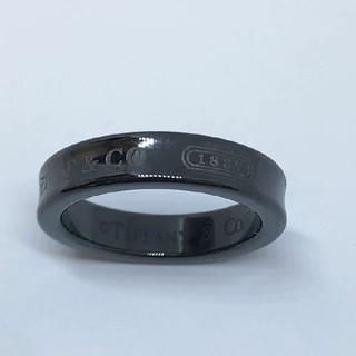 ティファニー(Tiffany & Co.)の#8 未使用 ティファニー チタン ナローリング 指輪 ブラック 8号 1837(リング(指輪))