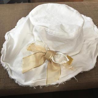 カシラ(CA4LA)のCA4LA 白 コサージュ 帽子(ハット)