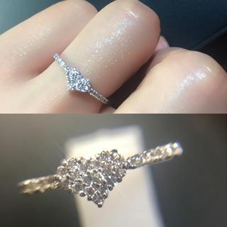 ❤️送料込☆未使用品0.18ctダイヤモンドパヴェハートホワイトゴールドリング(リング(指輪))