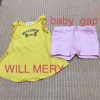 ベビーギャップ(babyGAP)のワンピース、ショートパンツ★90cm(ワンピース)