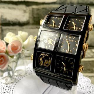 アヴァランチ(AVALANCHE)の【美品】ICE LINK アイスリンク 4タイムゾーン ブラック 腕時計(腕時計(アナログ))