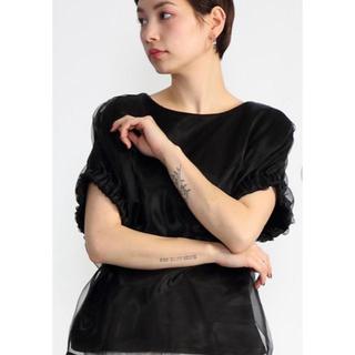 カプリシューレマージュ(CAPRICIEUX LE'MAGE)のCAPRICIEUX LEMAGE オーガンジーTシャツ ブラック 美品(シャツ/ブラウス(半袖/袖なし))