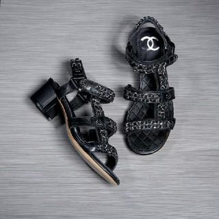 シャネル(CHANEL)のシャネル Chanel ミュール サンダル ヒール 黒(ミュール)
