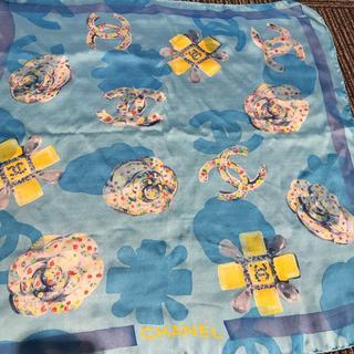 シャネル(CHANEL)のシャネル スカーフ 水色×イエロー(90013971)(バンダナ/スカーフ)