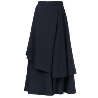 USED 美品 ENFOLD ワイドフレアスカートパンツ ダークネイビー 36