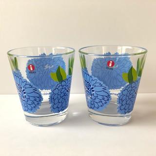 マリメッコ(marimekko)の【美品】イッタラ マリメッコ プリマベーラ グラス ブルー 2個セット 北欧(グラス/カップ)