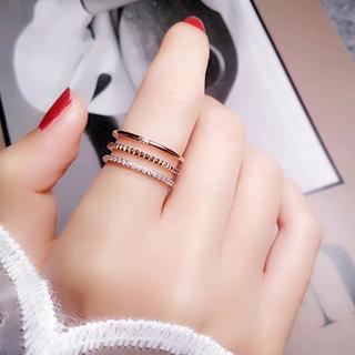 三連ステンレスリング CZダイヤ シンプル 華奢 アレルギー対応 指輪 綺麗 (リング(指輪))