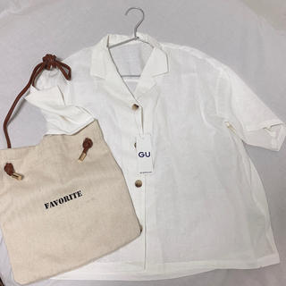 ジーユー(GU)のGU リネンブランドオープンカラーシャツ 半袖 WHITE(シャツ/ブラウス(半袖/袖なし))