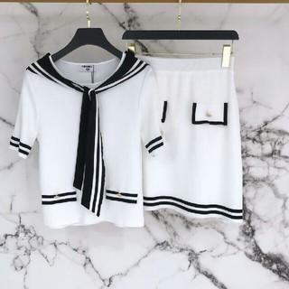 シャネル(CHANEL)のCHANELシャネル Tシャツ+スカート セット ホワイト M(Tシャツ(半袖/袖なし))