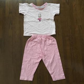 ニシマツヤ(西松屋)の西松屋 パジャマ 半袖 80 ピンク 女の子 ボーダー さくらんぼ(パジャマ)