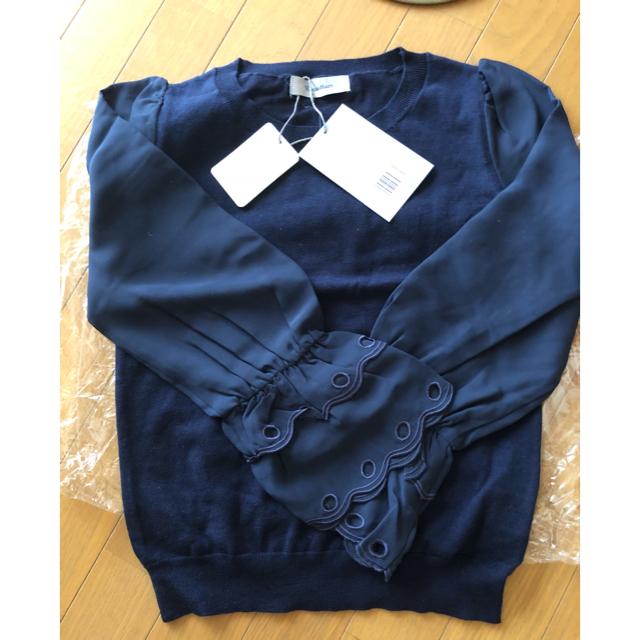 Rirandture(リランドチュール)のリランドチュール    袖シフォンスカラ刺繍ニット レディースのトップス(ニット/セーター)の商品写真