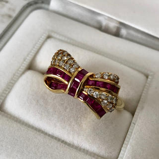 K18 ルビー/ダイヤモンド リング リボン(リング(指輪))