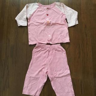 ニシマツヤ(西松屋)の西松屋 パジャマ 長袖 80 ピンク 女の子 いちご お花(パジャマ)