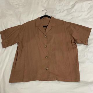 ジーユー(GU)のGU ジーユー リネンブレンドオープンカラーシャツ(半袖)(シャツ/ブラウス(半袖/袖なし))