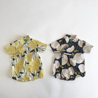 新品 甚平ロンパース 男の子 女の子 夏 ベビー服 半袖 浴衣