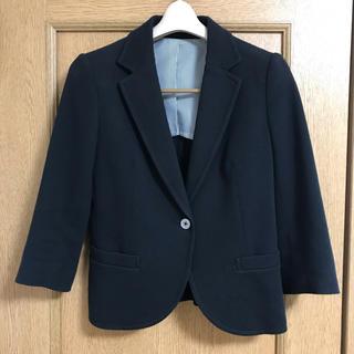 ユニクロ(UNIQLO)のユニクロ ソフトテーラードジャケット 黒 七分袖(テーラードジャケット)