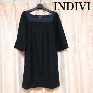 INDIVI - INDIVI インディヴィ ワンピース ウール ブラック 上品素敵 日本製