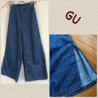 GU - GU 薄手 デニム ワイド パンツ M