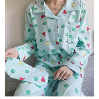 クレヨンしんちゃん 風 パジャマ グリーン 緑 ルームウェア アイマスク付き