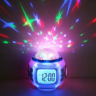 目覚まし時計 デジタル時計 プロジェクター アラーム 星空投影 七色発光 プラネ