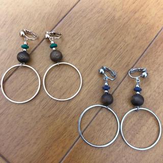 GU - ウッドパーツ&メタルフープイヤリング 2色セット