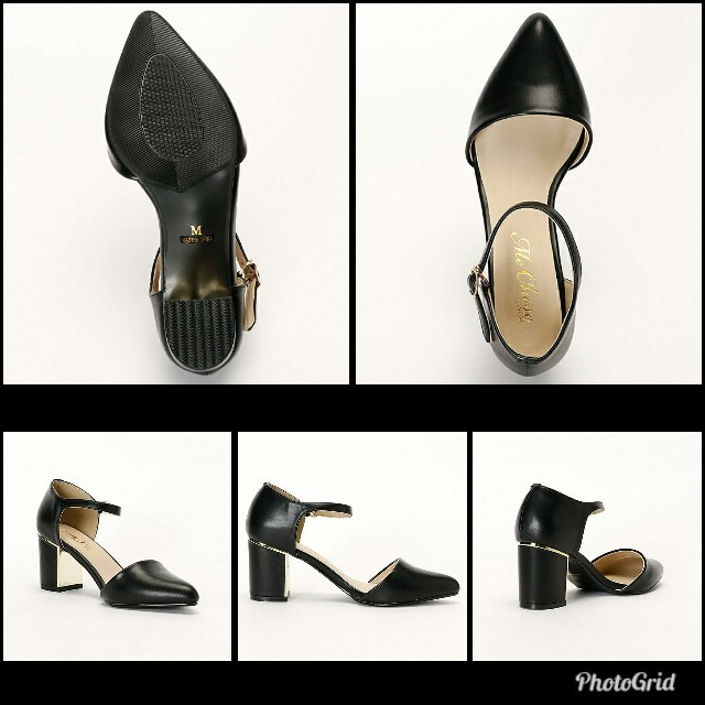 INGNI(イング)の未使用品に近い INGNI イング セパレート パンプス ストラップ ブラック レディースの靴/シューズ(ハイヒール/パンプス)の商品写真