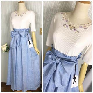 ニーナミュウ(Nina mew)の新品♡ニーナミュウ リネンマキシスカート デニムカラー(ロングスカート)