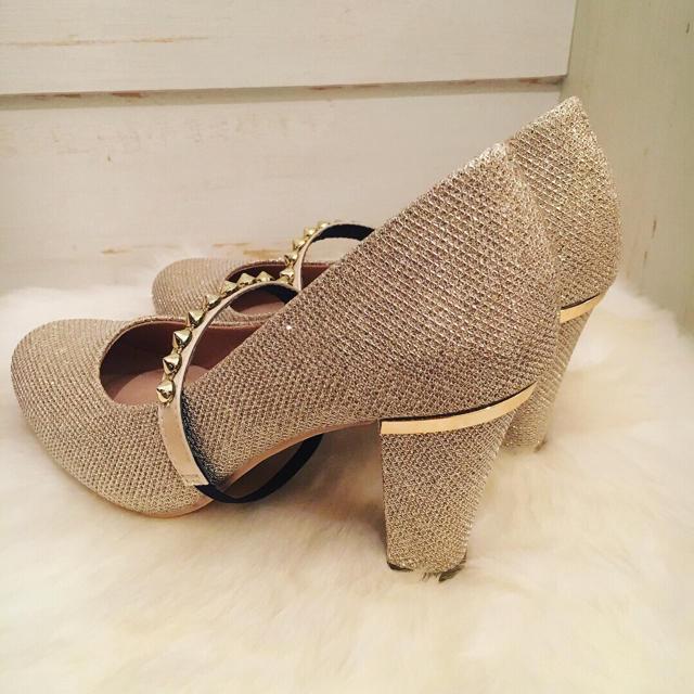 グリッターハイヒール♡ゴールド レディースの靴/シューズ(ハイヒール/パンプス)の商品写真