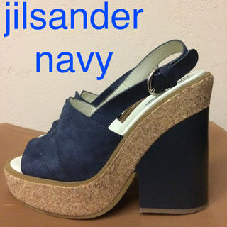 Jil Sander - 美品 jilsander navy ウェッジソール サンダル ジルサンダー