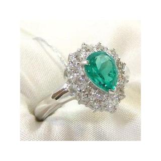 pt900エメラルドダイヤリング指輪(リング(指輪))
