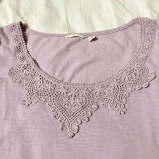 ユニクロ(UNIQLO)のラベンダー色 7分袖カットソー Mサイズ (Tシャツ/カットソー(七分/長袖))