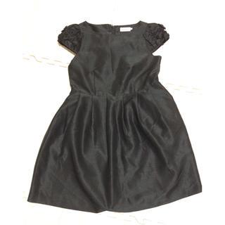 ティアラ(tiara)のティアラ リボン ワンピース ブラック 黒(ひざ丈ワンピース)