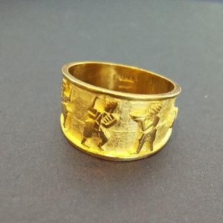 K18 エジプト紋様デザイン指輪 イタリア製!(リング(指輪))