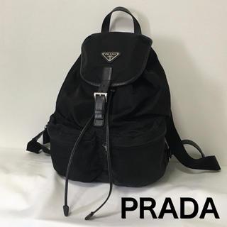 プラダ(PRADA)の【美品】PRADA プラダ リュック ナイロン 黒 ブラック シルバー金具 (リュック/バックパック)