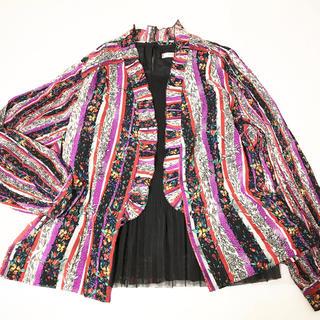 フラワー(flower)の【最終セール】 vintage  可愛い柄フリルシャツ カーディガン 羽織り♡(カーディガン)
