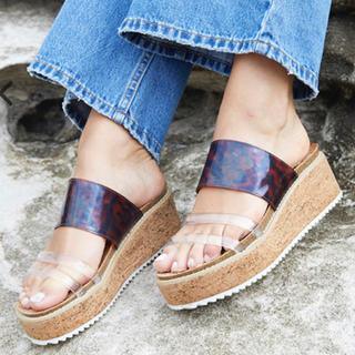ALEXIA STAM - Clear Strap Platform Sandals Cork