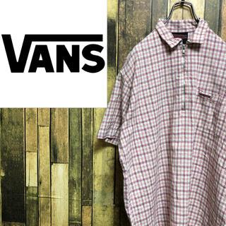 ヴァンズ(VANS)の【レア】バンズVANS☆刺繍ロゴハーフジッププルオーバーチェックシャツ 90s(シャツ)