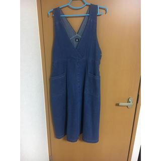 メルロー(merlot)のメルロー サイドポケットデニムロングワンピース ブルー(ロングワンピース/マキシワンピース)